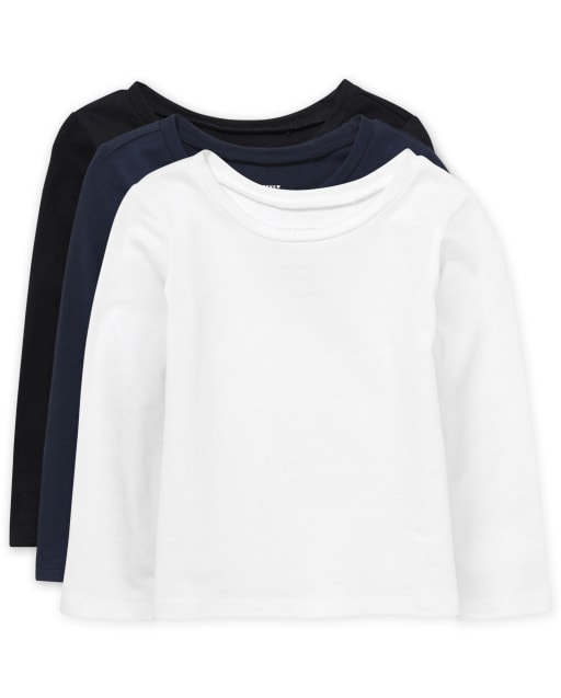 Paquete de 3 camisetas básicas de manga larga para niñas pequeñas