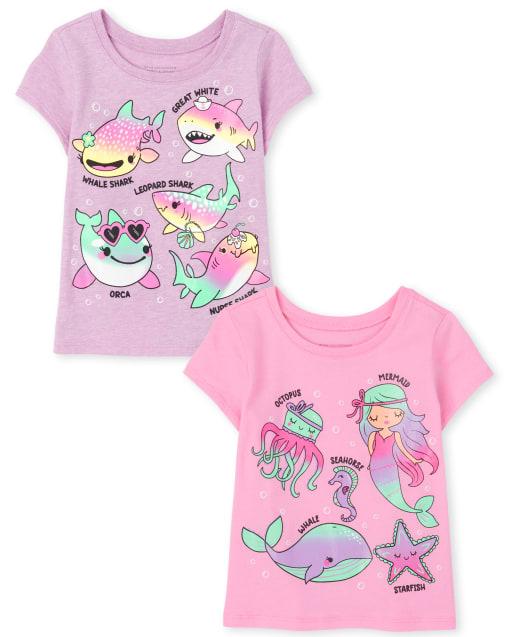 Toddler Girls Short Sleeve Ocean Graphic Tee 2-Pack