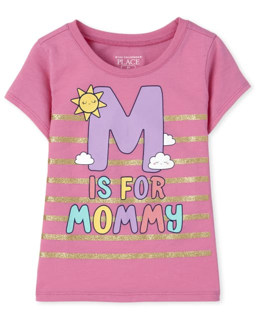 Baby And Toddler Girls Short Sleeve 'M Is For Mommy' Graphic Tee