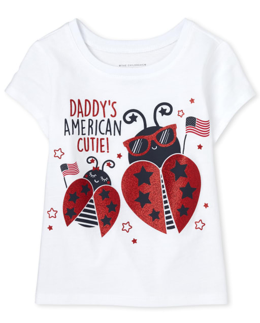 Baby And Toddler Girls Short Sleeve Americana Daddy's American Cutie Graphic Tee