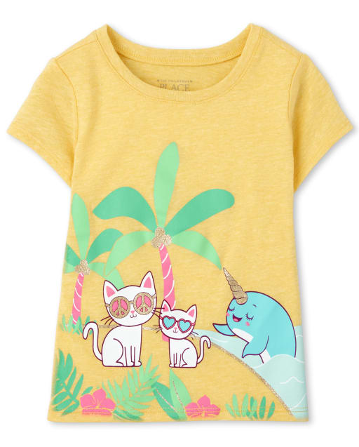 Baby And Toddler Girls Short Sleeve Cat And Narwhal Graphic Tee