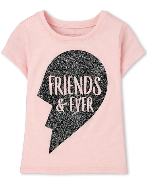 Baby And Toddler Girls Short Sleeve 'Friends And Ever' Best Friends Graphic Tee