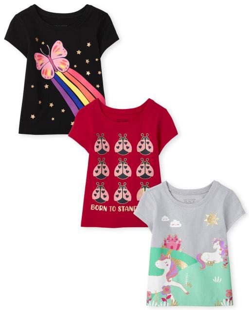 Toddler Girls Short Sleeve Animals Graphic Tee 3-Pack