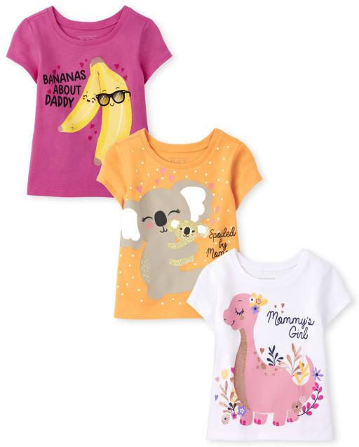 Toddler Girls Short Sleeve Family Graphic Tee 3-Pack