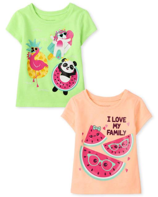 Toddler Girls Short Sleeve Summer Graphic Tee 2-Pack