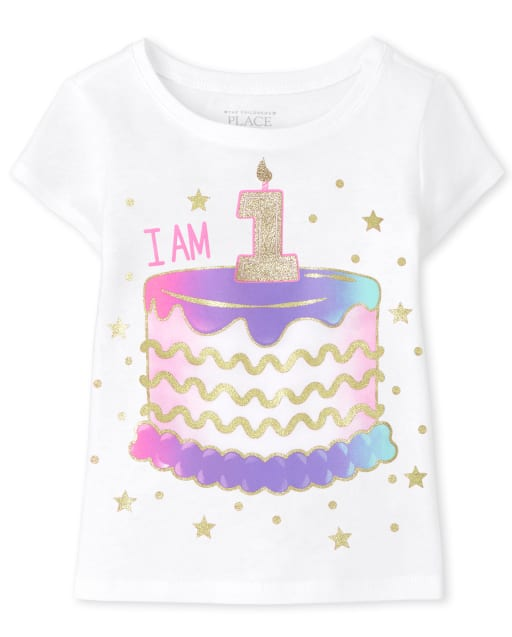 Baby And Toddler Girls Short Sleeve 'I Am 1' Birthday Graphic Tee