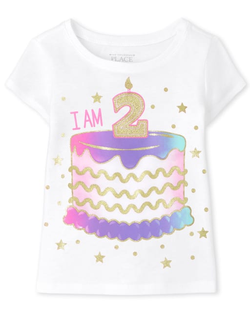 Baby And Toddler Girls Short Sleeve 'I Am 2' Birthday Graphic Tee