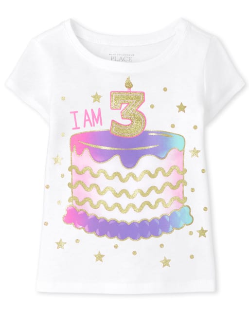 Baby And Toddler Girls Short Sleeve 'I Am 3' Birthday Graphic Tee