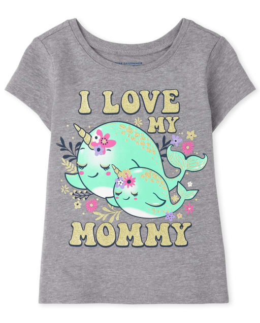 Baby And Toddler Girls Short Sleeve 'I Love My Mommy' Narwhal Graphic Tee