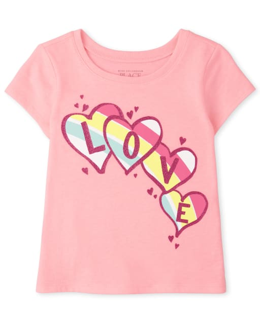 Baby And Toddler Girls Short Sleeve Love Graphic Tee