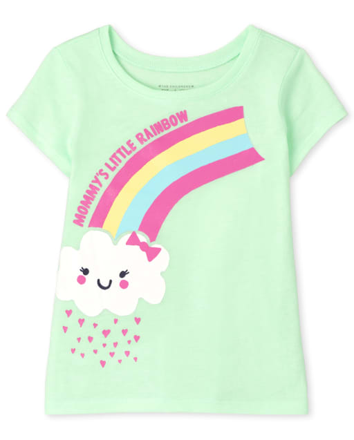 Baby And Toddler Girls Short Sleeve 'Mommy's Little Rainbow' Graphic Tee