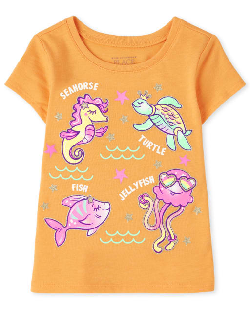 Baby And Toddler Girls Short Sleeve Sea Animals Graphic Tee