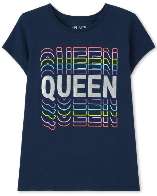 Girls Short Sleeve 'Queen' Graphic Tee