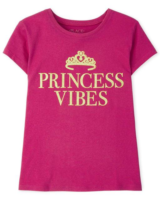 Girls Short Sleeve 'Princess Vibes' Graphic Tee