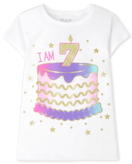 Girls Short Sleeve 'I Am 7' Birthday Graphic Tee