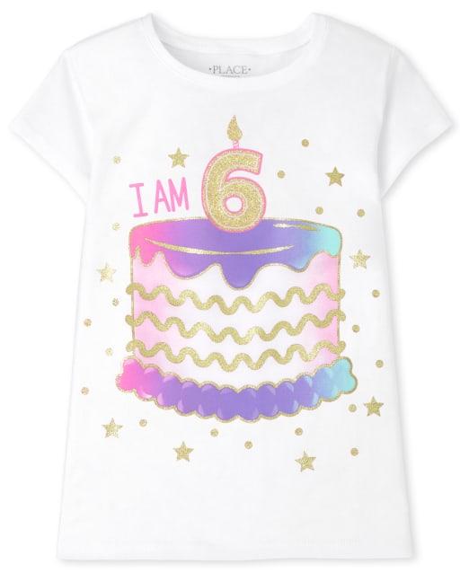 Girls Short Sleeve 'I Am 6' Birthday Graphic Tee