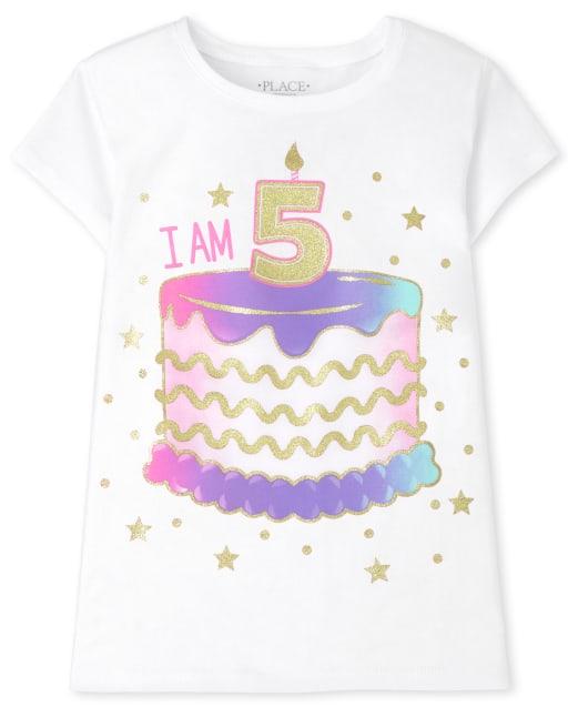 Girls Short Sleeve 'I Am 5' Birthday Graphic Tee