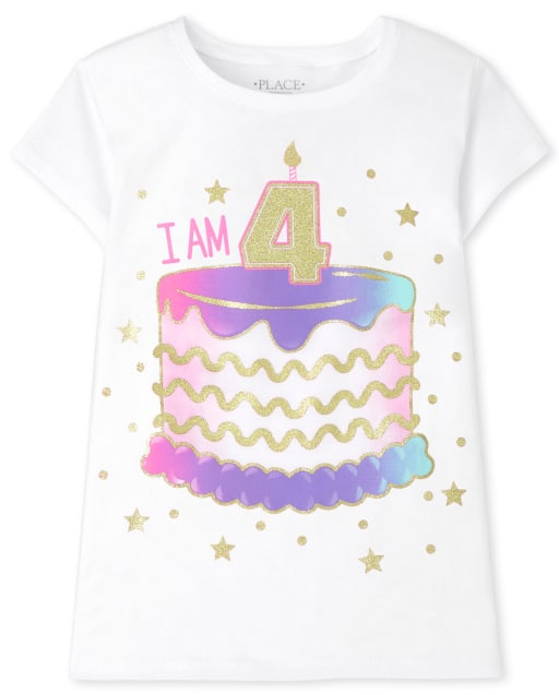 Girls Short Sleeve 'I Am 4' Birthday Graphic Tee