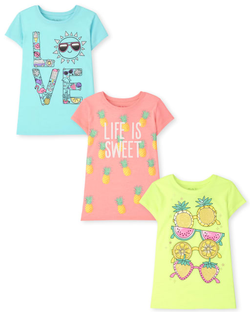Pack de 3 camisetas estampadas de verano para niñas