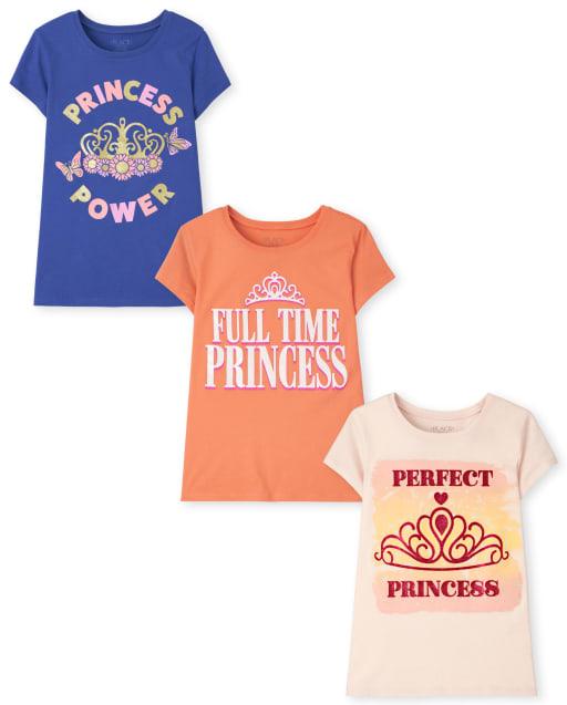 Pack de 3 camisetas estampadas de princesa para niñas