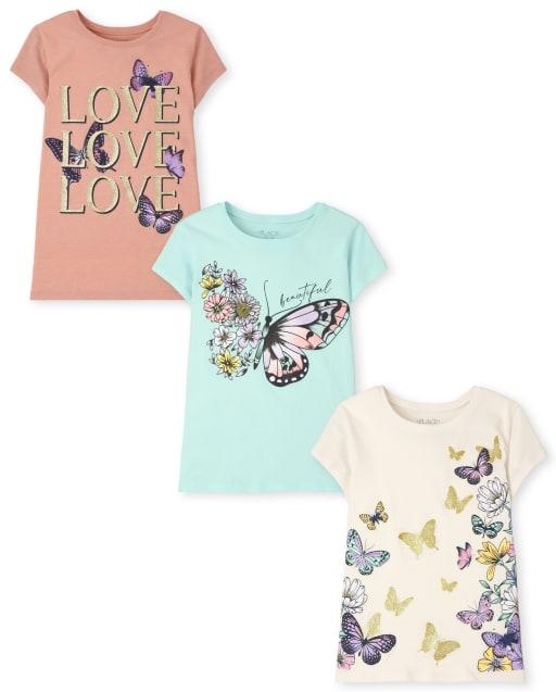 Pack de 3 camisetas con estampado de mariposas para niñas