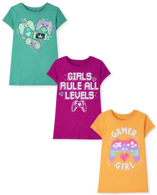 Pack de 3 camisetas gráficas de videojuegos para niñas