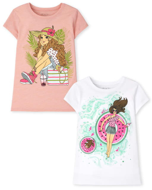 Pack de 2 camisetas estampadas de verano para niñas