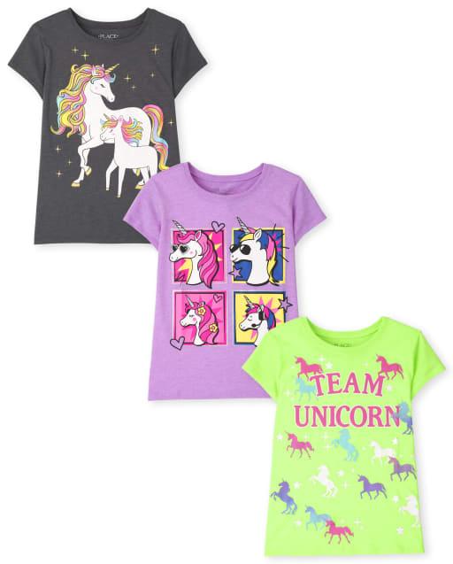 Pack de 3 camisetas estampadas de unicornio para niñas