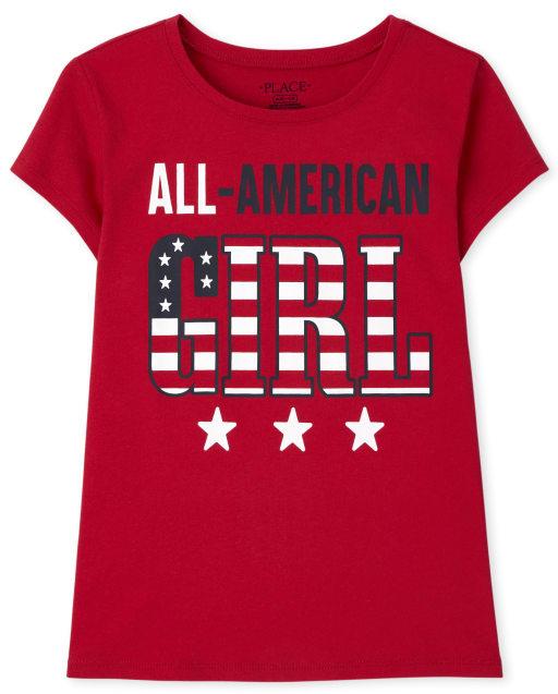 Girls Matching Family Short Sleeve Americana All American Girl Graphic Tee