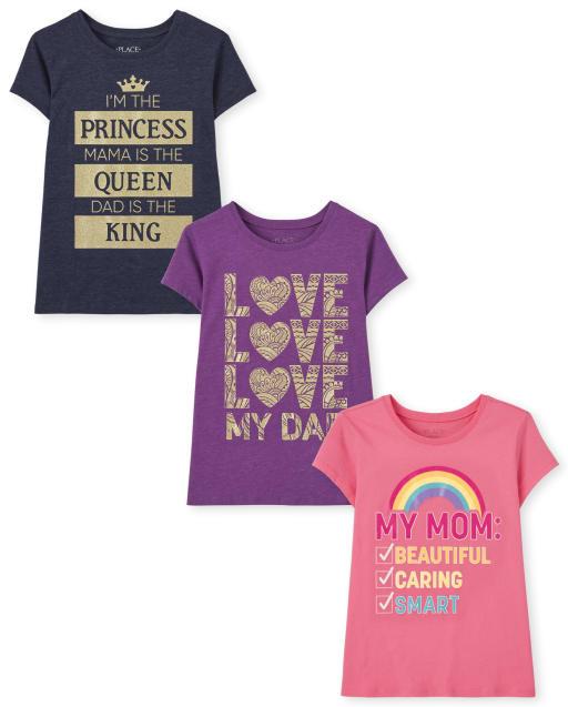 Paquete de 3 camisetas estampadas familiares para niñas