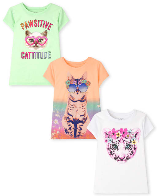 Pack de 3 camisetas con estampado de gatos para niñas