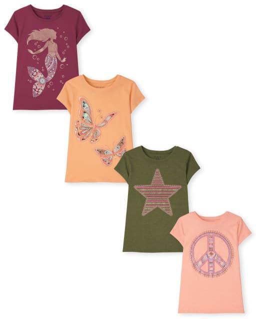 Paquete de 4 camisetas estampadas Trend para niñas