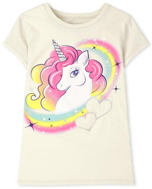 Girls Short Sleeve Unicorn Rainbow Graphic Tee