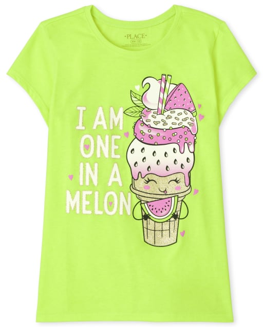 Girls Short Sleeve 'I Am One In A Melon' Ice Cream Cone Graphic Tee
