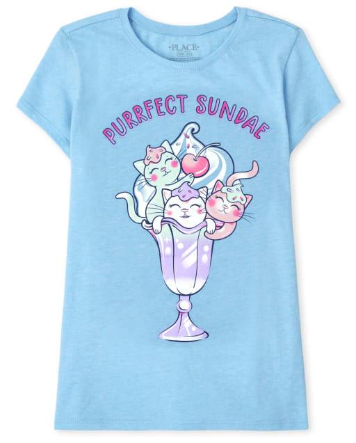 Girls Short Sleeve 'Purrfect Sundae' Cat Sundae Graphic Tee