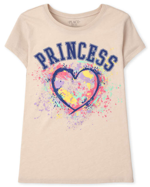 Girls Short Sleeve Princess Graphic Tee