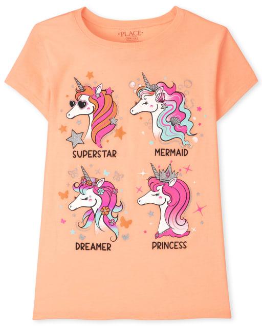Girls Short Sleeve Unicorns Graphic Tee