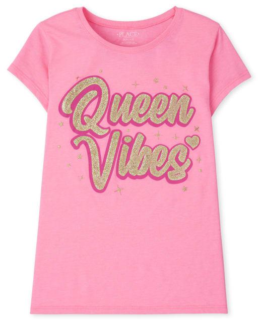 Girls Short Sleeve 'Queen Vibes' Graphic Tee