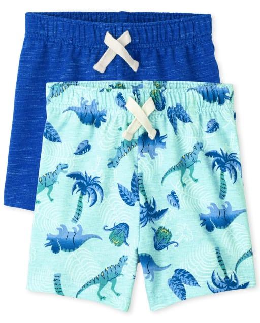 Paquete de 2 pantalones cortos de punto liso y estampado de dinosaurios para bebés y niños pequeños Mix And Match