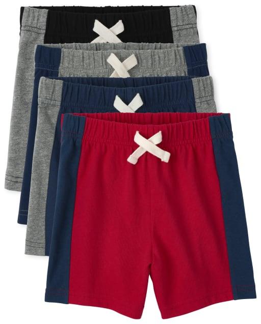 Paquete de 4 pantalones cortos con rayas laterales para bebés y niños pequeños
