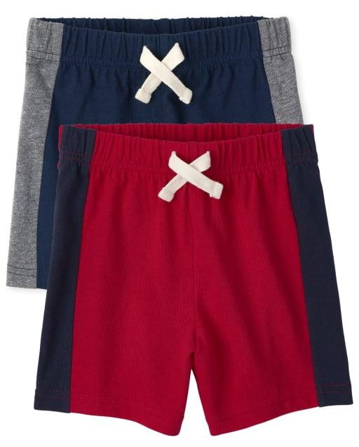 Paquete de 2 pantalones cortos de punto con rayas laterales Mix And Match para niños pequeños