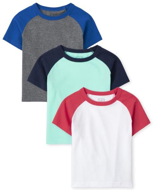 Pack de 3 camisetas raglán de manga corta para niños pequeños