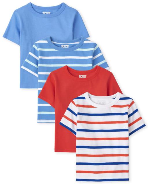 Pack de 4 camisetas lisas y de rayas de manga corta para niños pequeños