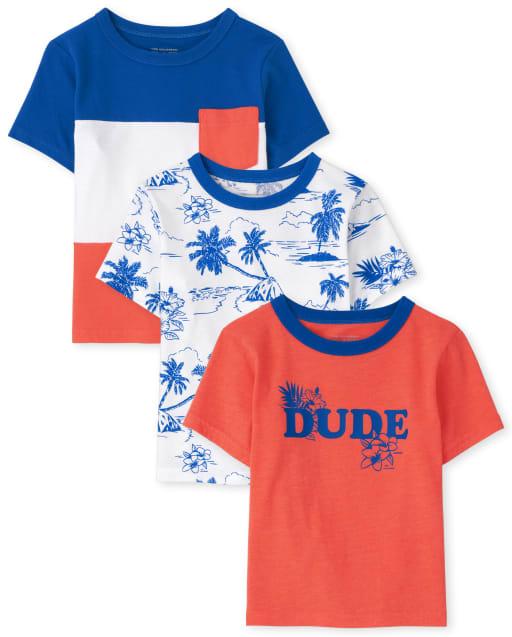 Bebé y niños pequeños de manga corta ' Dude ' Top 3-Pack