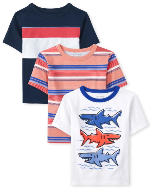 Pack de 3 camisetas estampadas de manga corta para niños pequeños