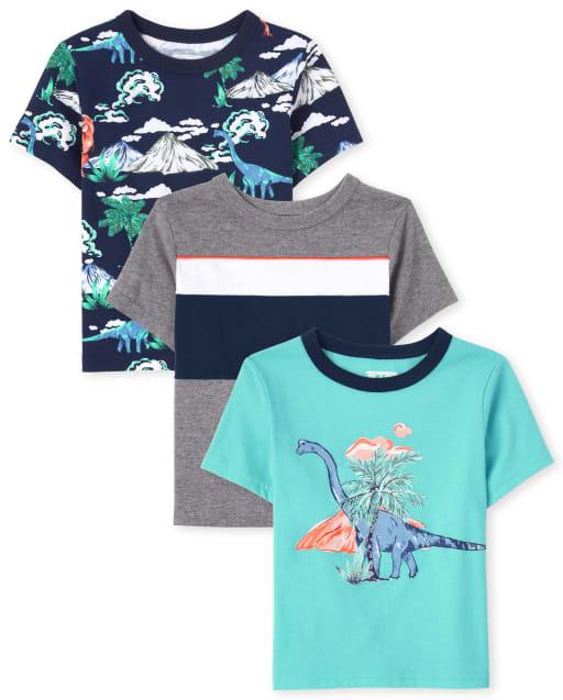 Pack de 3 camisetas estampadas para niños pequeños