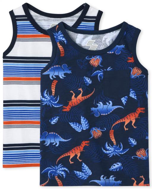 Pack de 2 camisetas sin mangas con estampado de dinosaurio sin mangas Mix And Match para niños pequeños