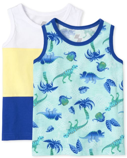 Baby And Toddler Boys Mix And Match Sleeveless Dino Print And Colorblock Tank Top 2-Pack