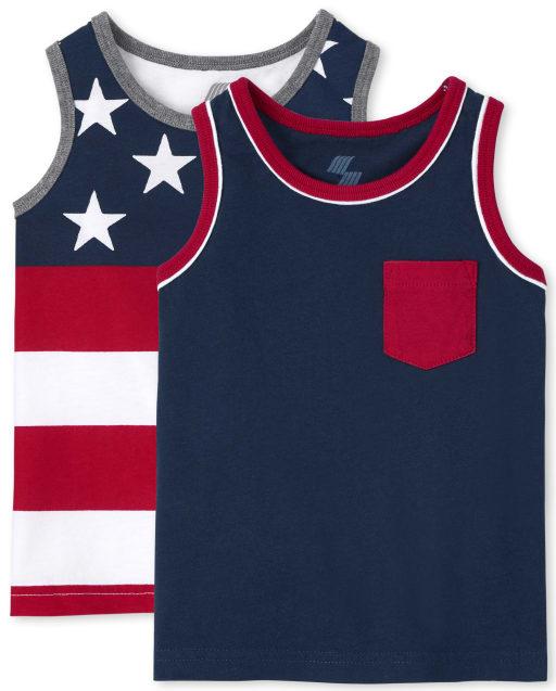 Pack de 2 camisetas sin mangas Americana para niños pequeños