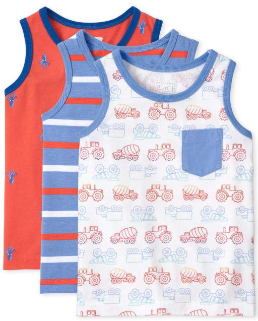 Pack de 3 camisetas sin mangas con estampado sin mangas Mix And Match para niños pequeños